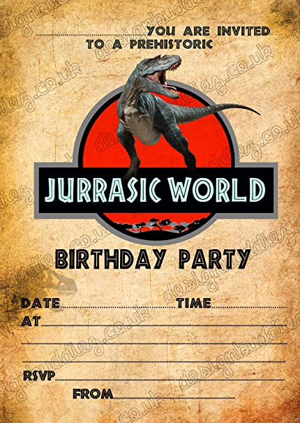 Design Buddies Boys Jurassic World Dinosaurs Birthday Party Invitations X8 Envelopes 8 Amazoncouk Kitchen Home