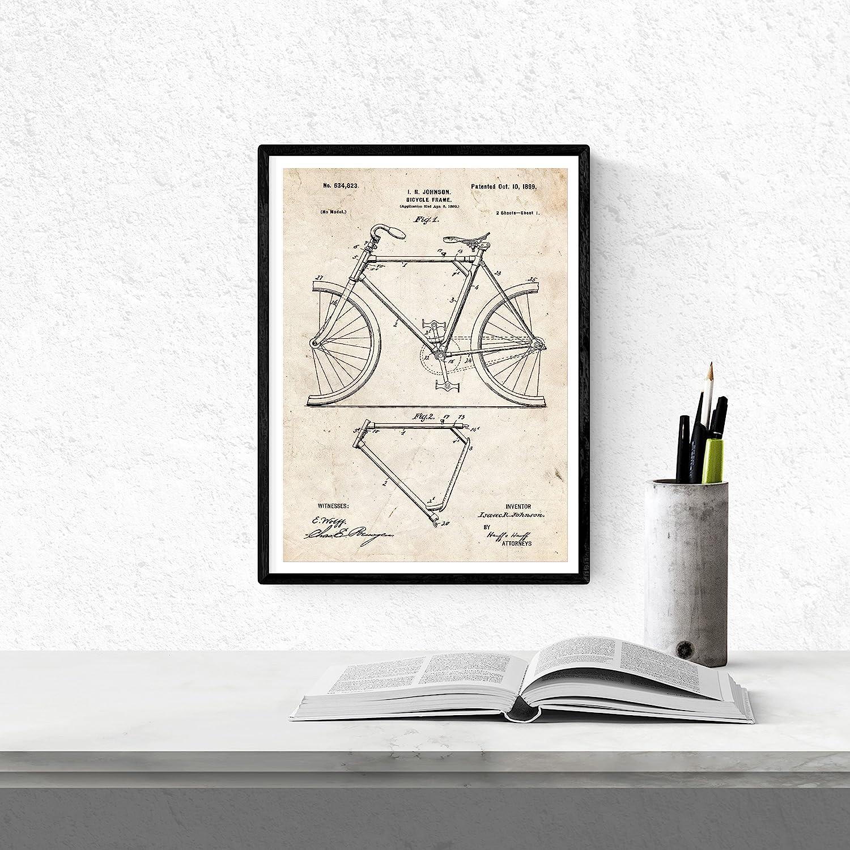 Nacnic Vintage - Pack de 4 láminas con Patentes de Bicicletas. Set de Posters con inventos y Patentes Antiguas. Elije el Color Que más te guste. Impreso en Papel de 250 Gramos:
