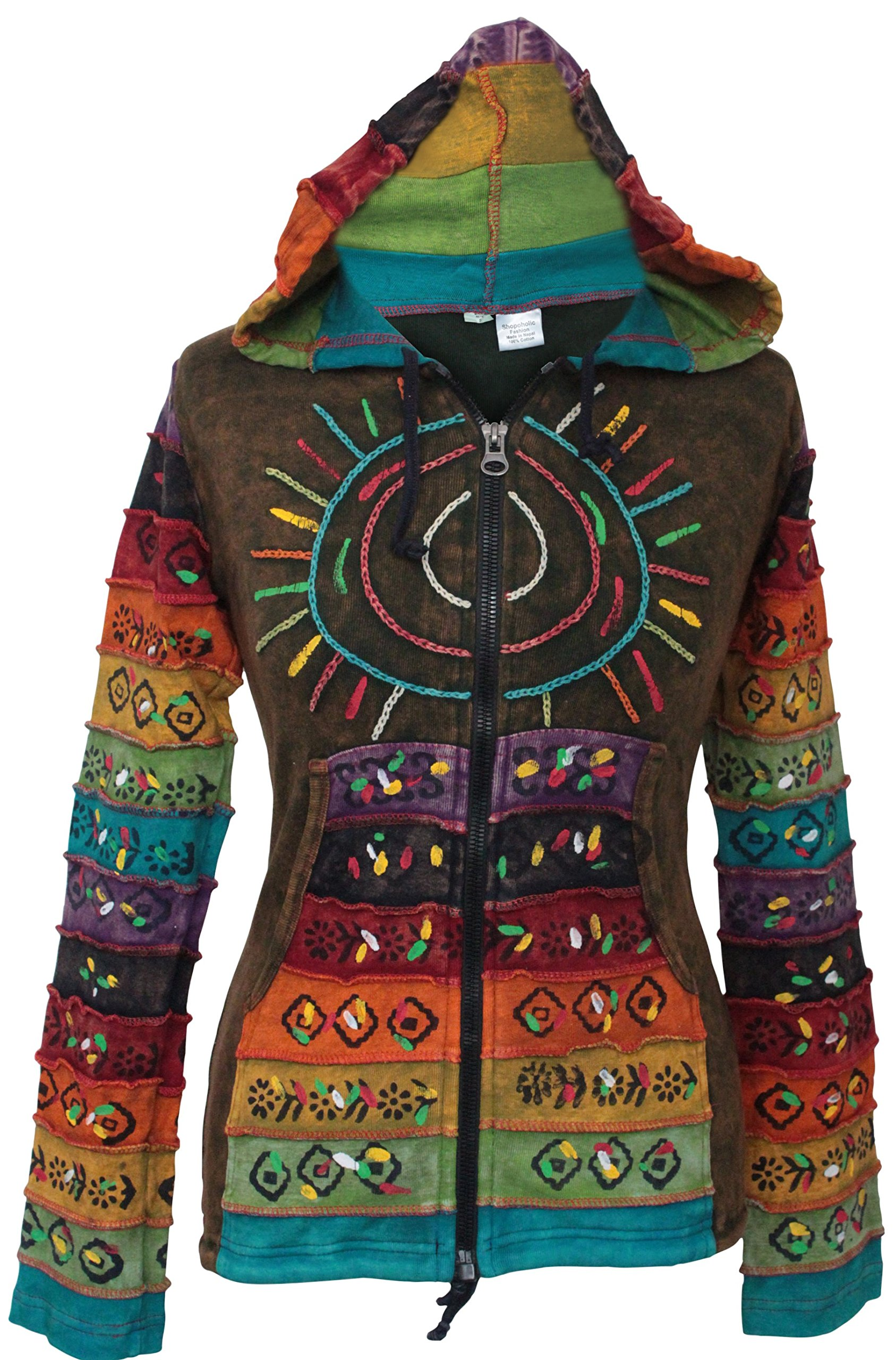 Shopoholic Fashion Women's Sun Patchwork Pixie Hippy Ribs Hoodie Faded Jacket (Green,3XL)