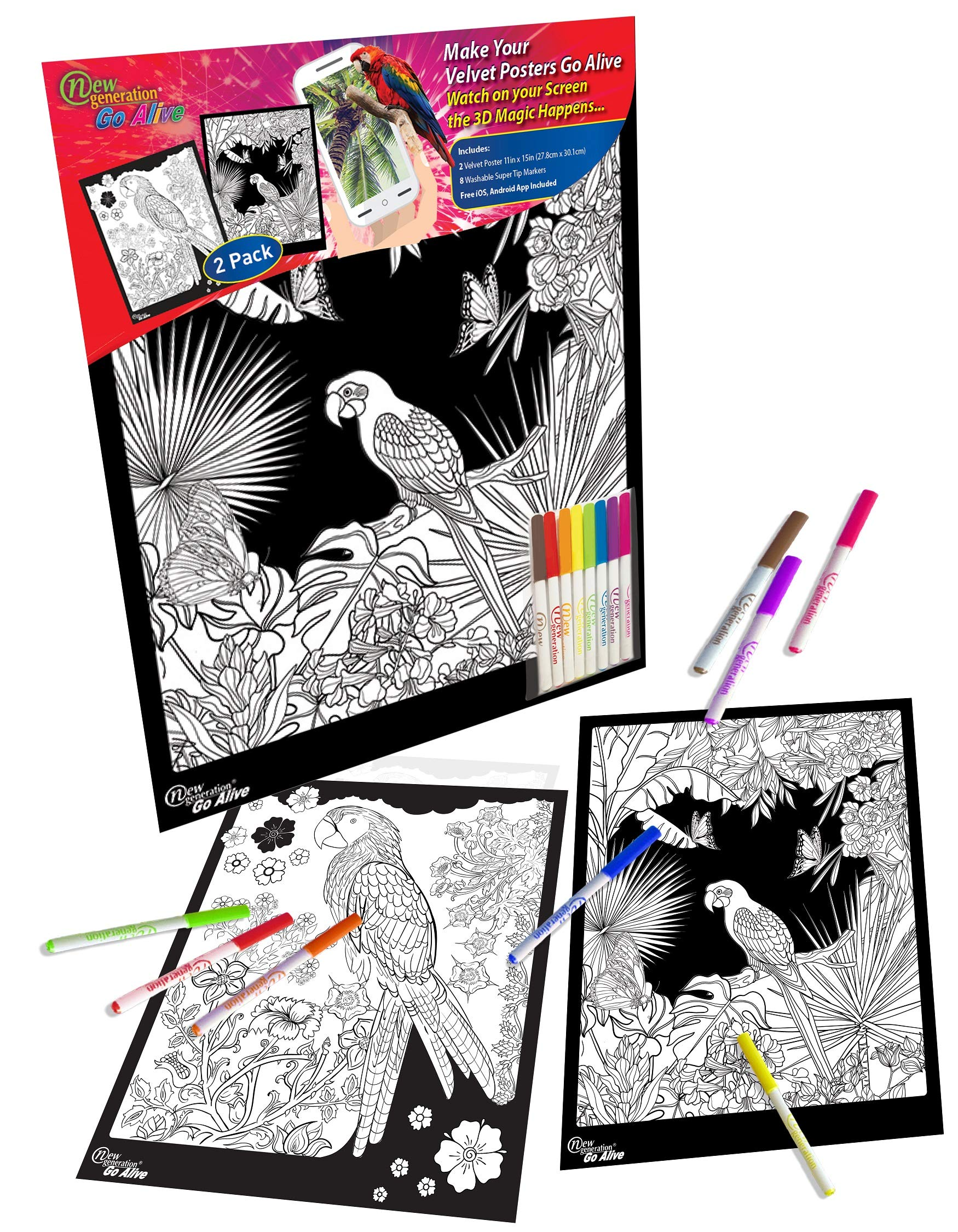At Home Dynamic Edition - Great for Family Time Super Pack of 18 Fuzzy Velvet Coloring Posters Arts /& Crafts Care Facilities Travel All Ages Coloring: Girls, Boys, Adults, Toddlers, Teens
