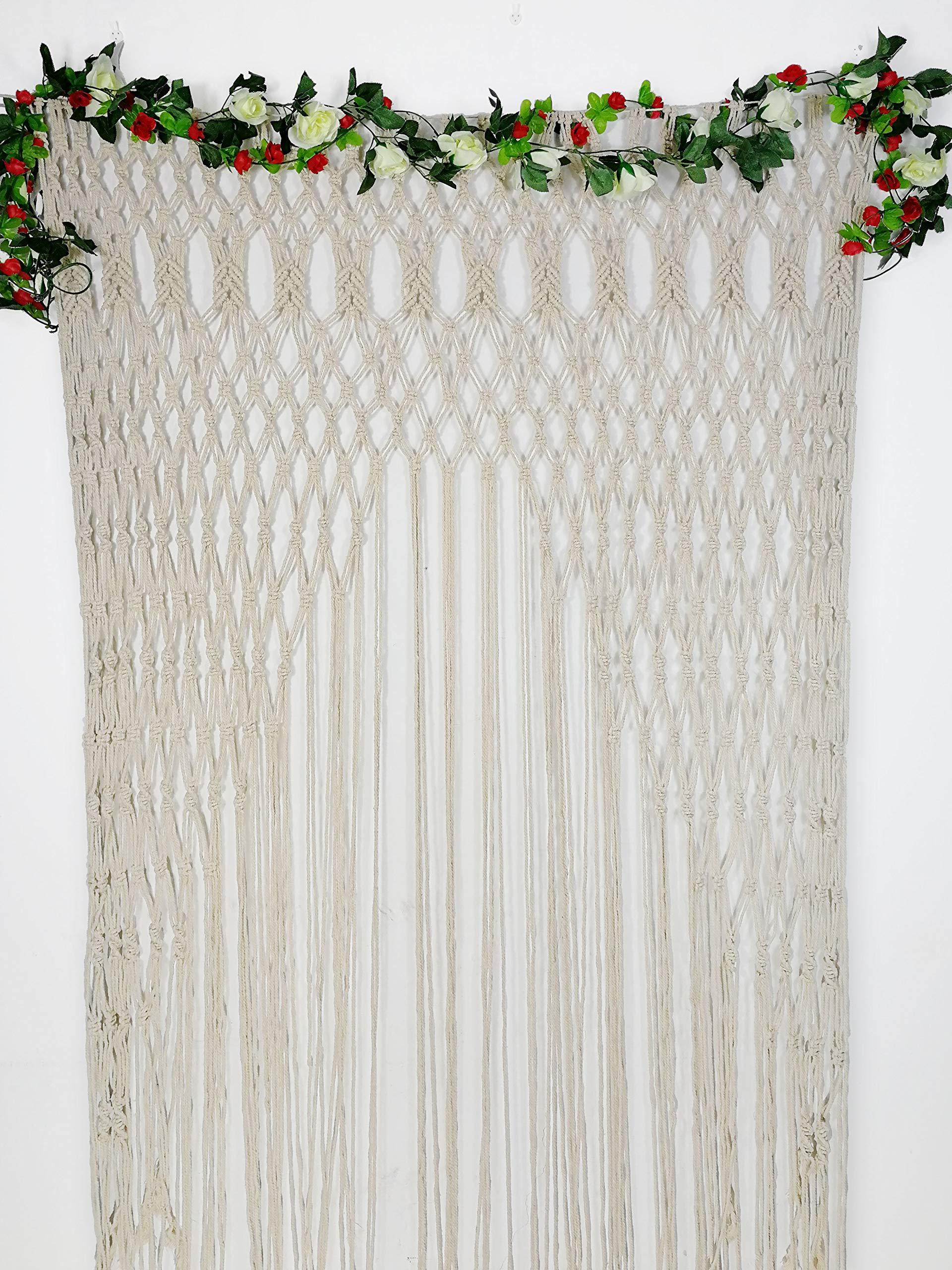 RISEON Large 59''W x 78''L Macrame Wedding Backdrop, Macrame Wedding Arch Arbor, Macrame Wall Hanging,Macrame Door Hanging,Room divider,macrame Curtains,Window Curtain BOHO Wall Art
