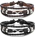 Besteel Charm Genuine Leather Bracelet for Men Wrist Wraps Bracelet Braided Cuff Bangle Adjustable 7-9 inches