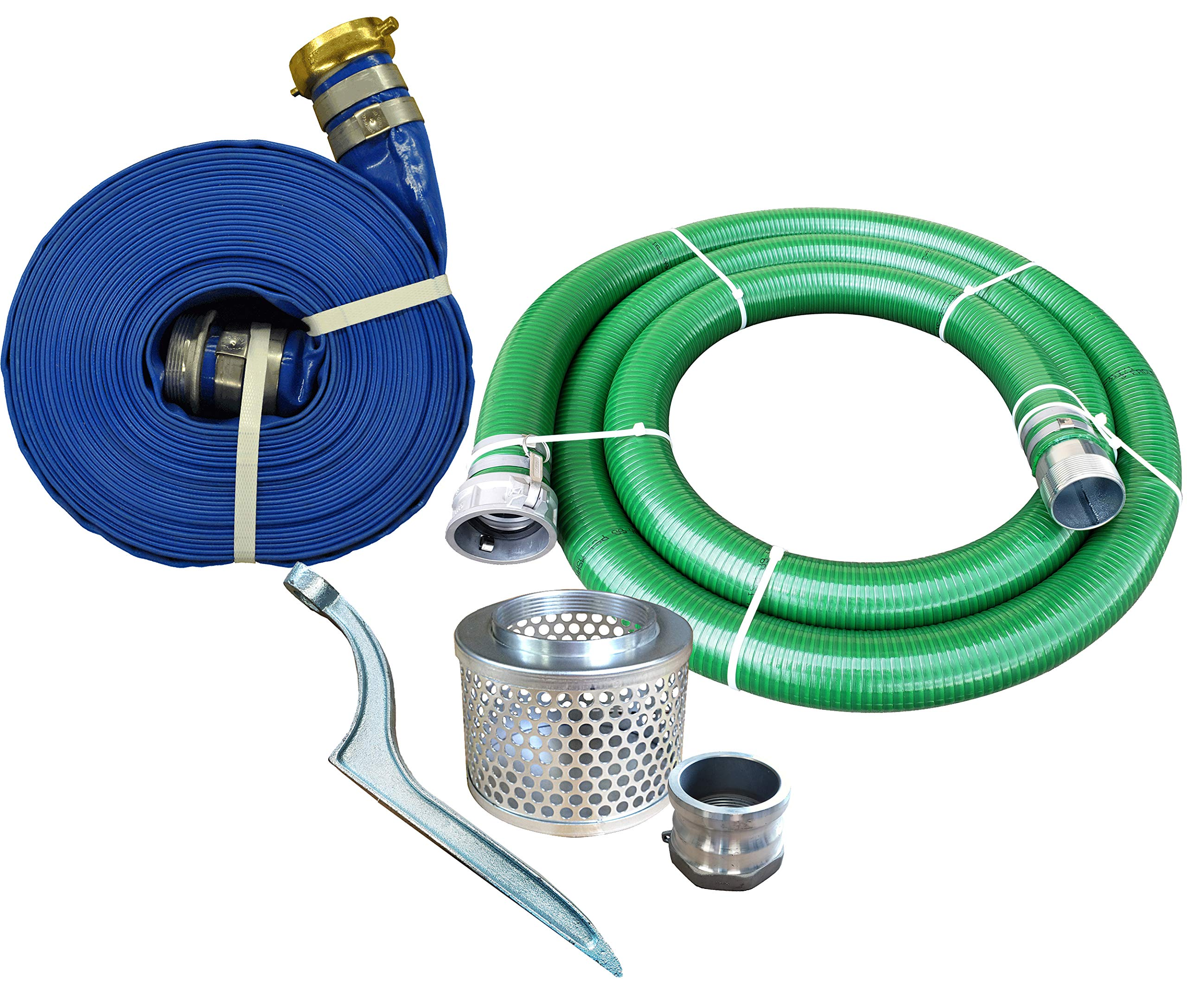 JGB Enterprises Eagle Hose PVC/Aluminum Water/Trash Pump Hose Kit, 4'' Green Suction Hose Coupled C x KCN, 4'' Blue Discharge Hose Coupled M x F WS, 29 Vacuum Rating, 70 PSI Maximum Temperature, 50' Length, 4 ID by JGB Enterprises