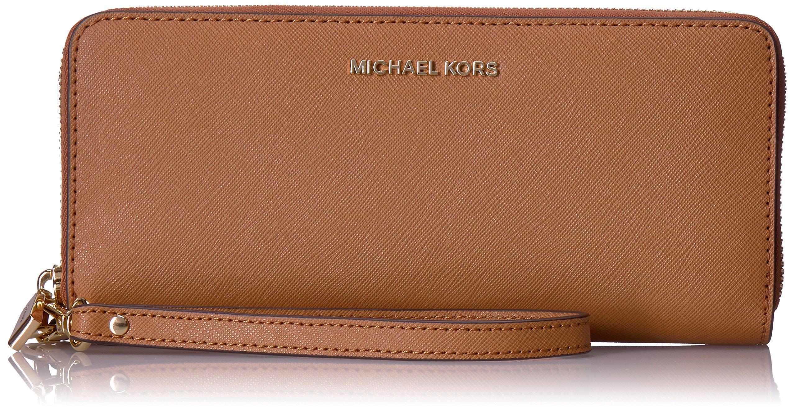 Michael Kors Women's Jet Set Travel Leather Continental Wallet Wristlet - Acorn