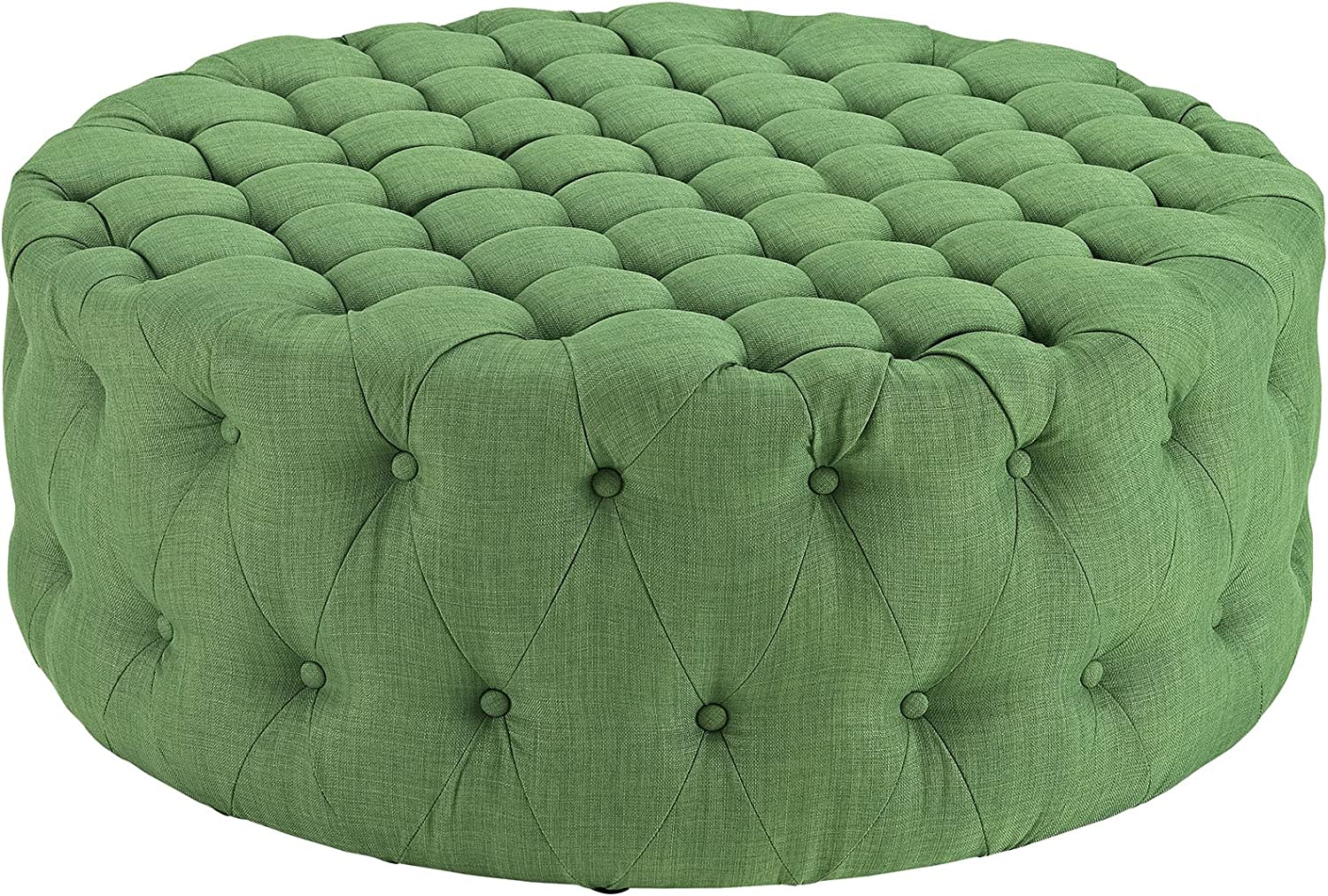 Modway Amour Fabric Upholstered Button-Tufted Round Ottoman in Kelly Green
