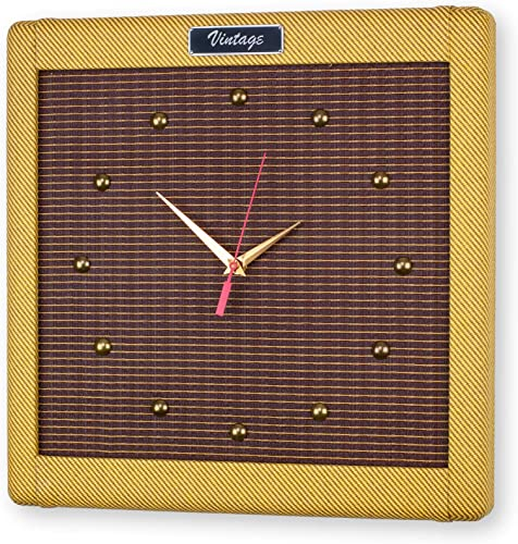 Droplight Ind. Handcrafted 15″ Vintage Tweed Guitar Amp Wall Clock