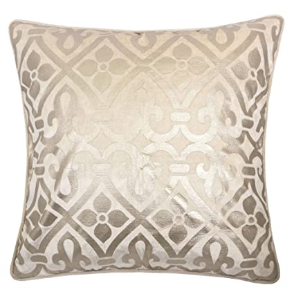 Amazon Com Homey Cozy Foil Applique Lavender Throw Pillow Cover