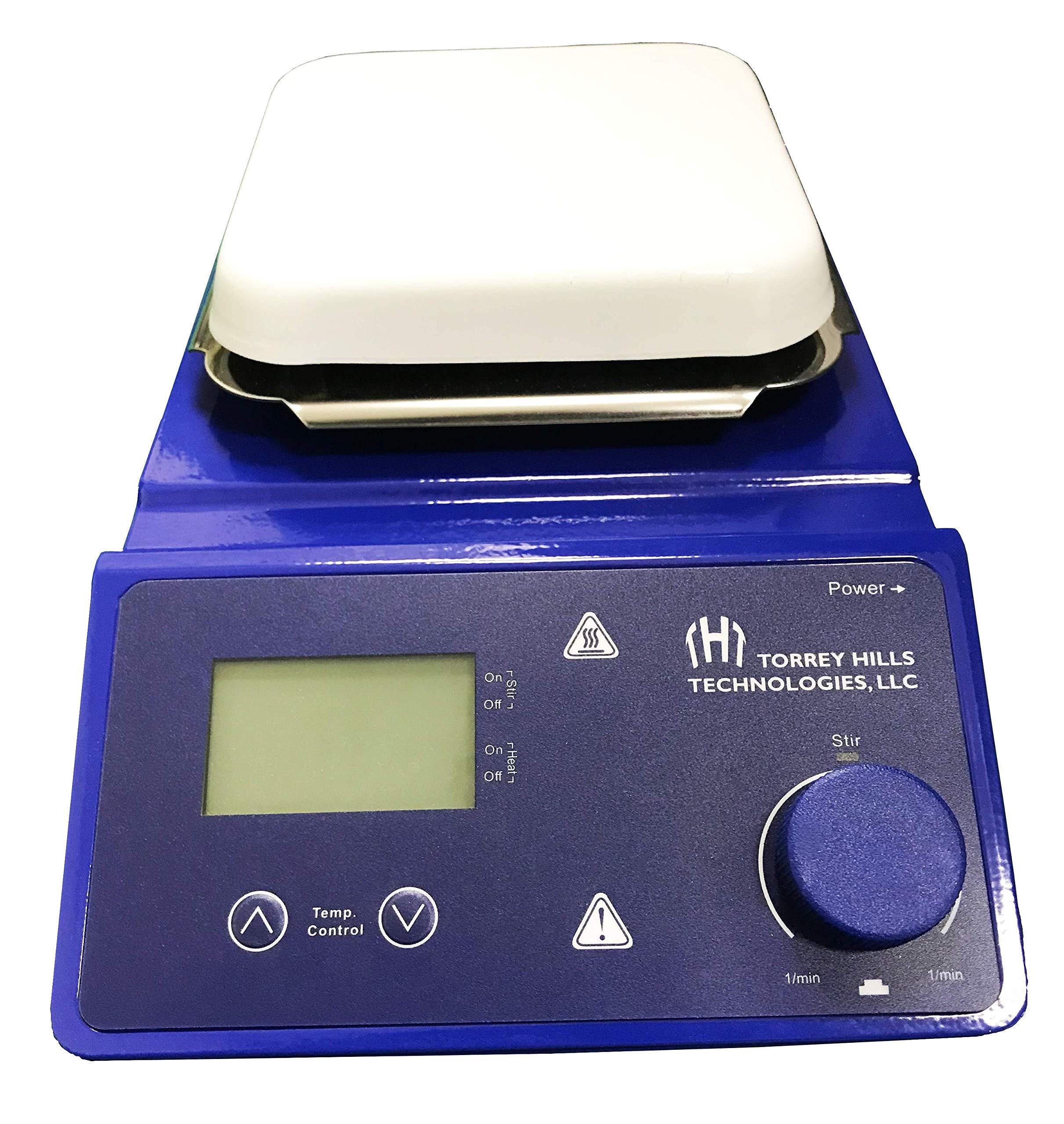 Magnetic Stirrer Hot Plate by Torrey Hills Tech | 5.3'' Ceramic Coated Plate, LED Display, 110V, 2L, 380°C Temperature Range with Excellent Chemical Resistance inclued 2 Stir Bars