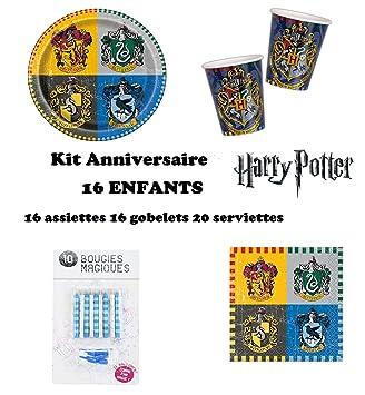 Set cumpleano Harry Potter Decoración Cumpleaños 52 Piezas (16 Platos, 16 Tazas, 20 servilletas + 10 Velas Mágicas) Fiesta para 16 Niños