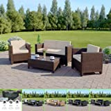 Garden Rattan Furniture Patio Set 4 Seater WITH RAIN COVER Outdoor Conservatory Sofa Armchair Coffee Table Roma New (Brown)