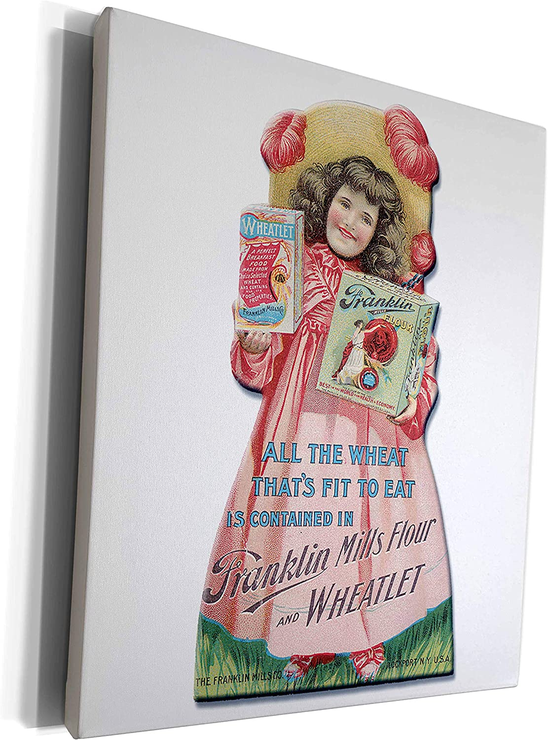 3dRose BLN Vintage Food and Drink Labels and Posters - Vintage Franklin Mills Flour and Wheatlet Girl In Victorian Dress - Museum Grade Canvas Wrap (cw_149269_1)