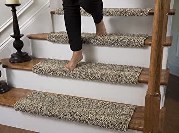 Perfect Caprice Bullnose Carpet Stair Tread With Adhesive Padding, By Tread Comfort  (Single 27u0026quot;