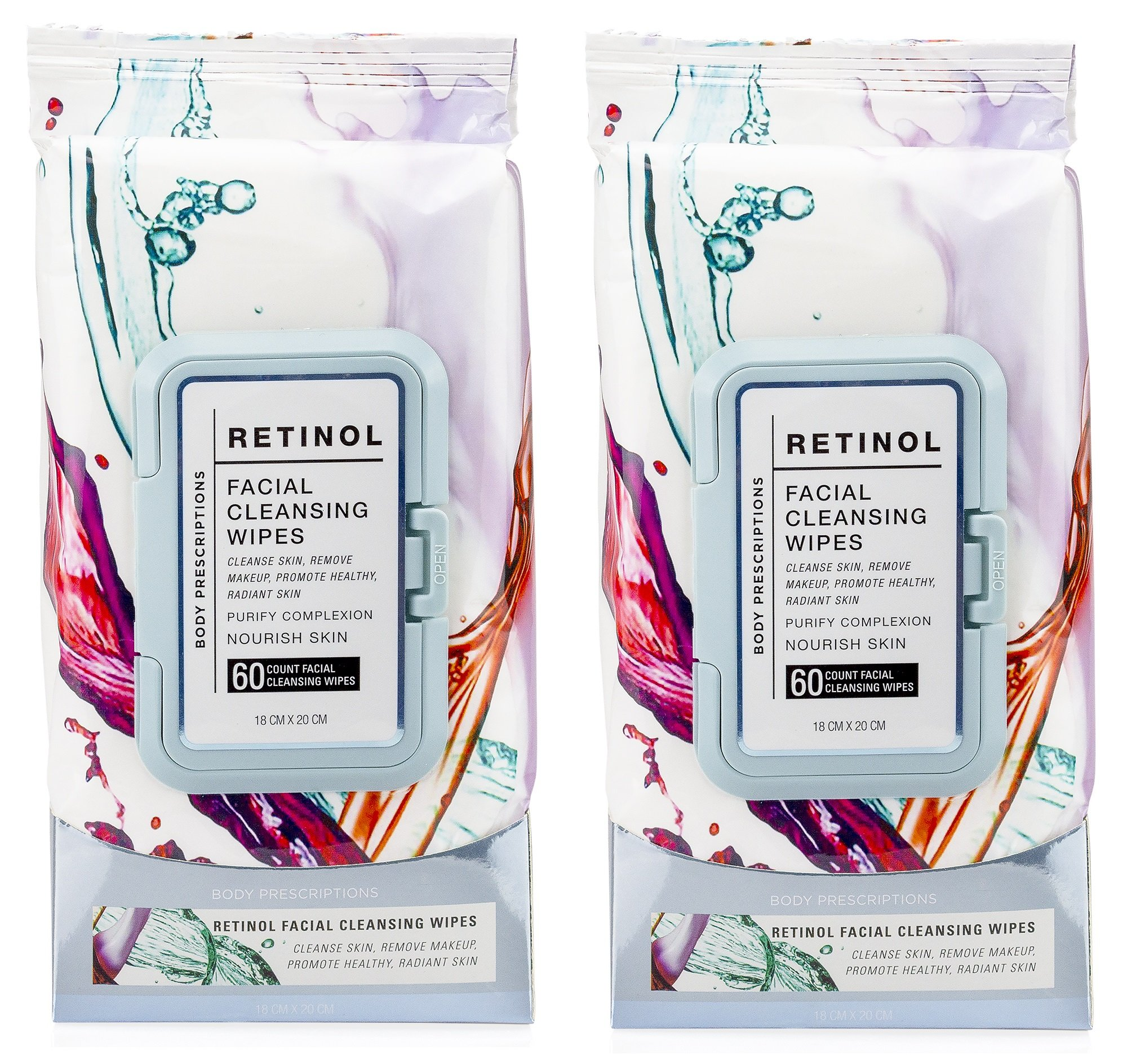 Body Prescriptions 2 Pack (60 Count Each) Retinol Facial Cleansing and Gentle Make Up Remover Wipes - Flip Top Pack by Body Prescriptions