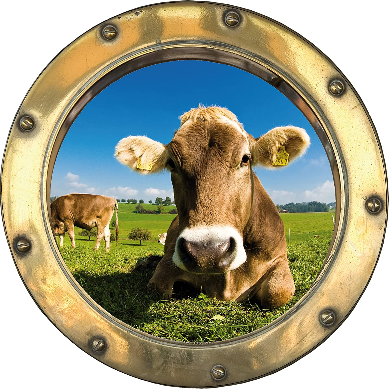 Sticker trompe l/' oeil window cow ref h322