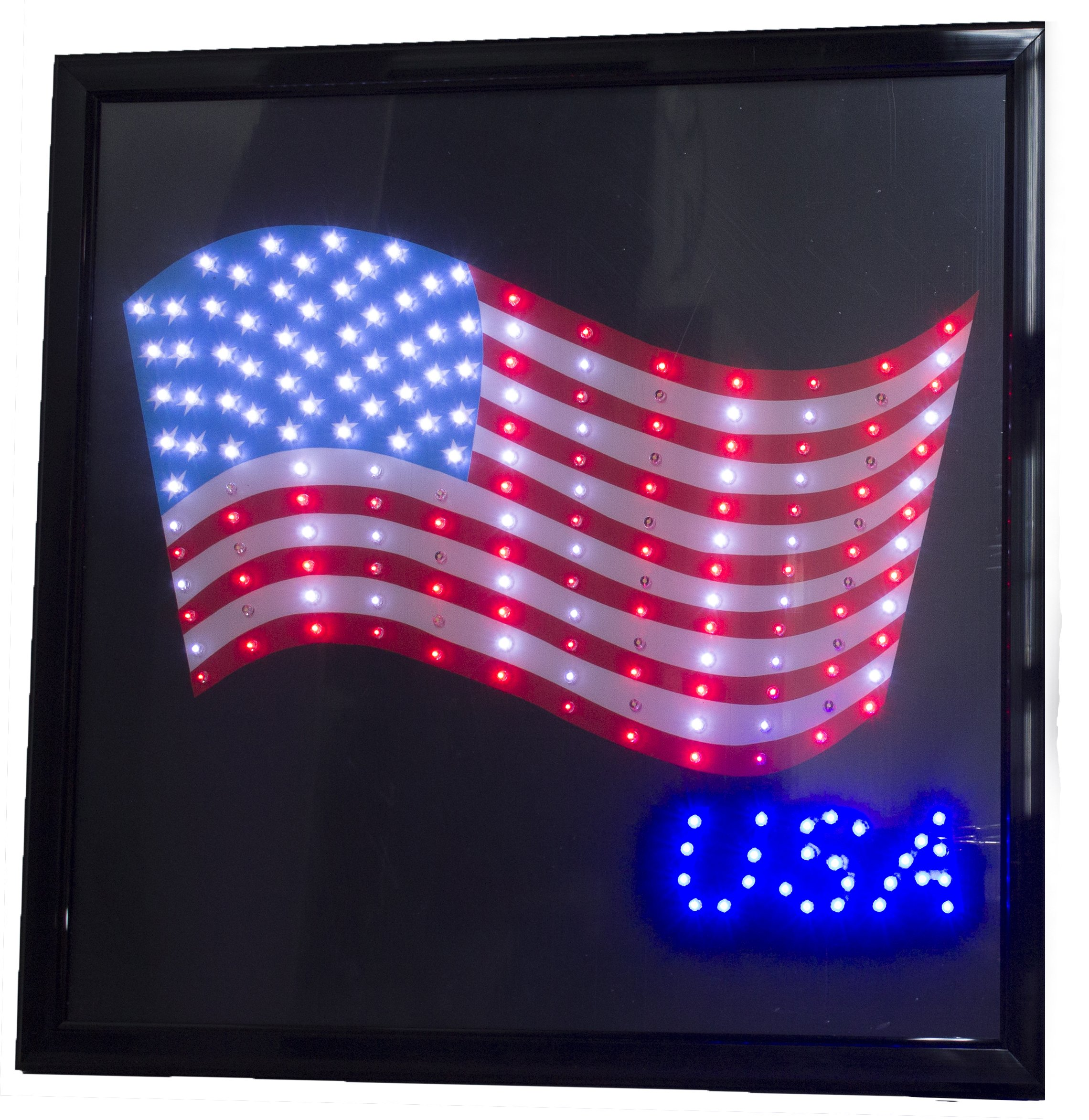 Printed American Flag USA 19'' x 19'' LED Sign with Hang Chain by LED Display Sign