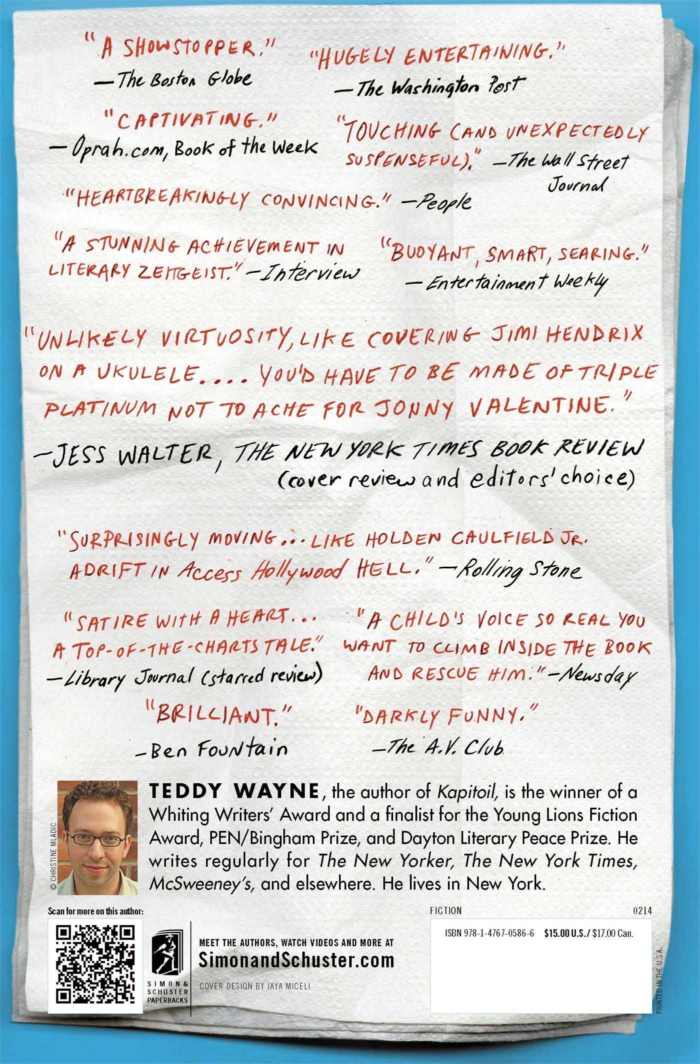 The Love Song Of Jonny Valentine: A Novel: Teddy Wayne: 9781476705866:  Amazon: Books