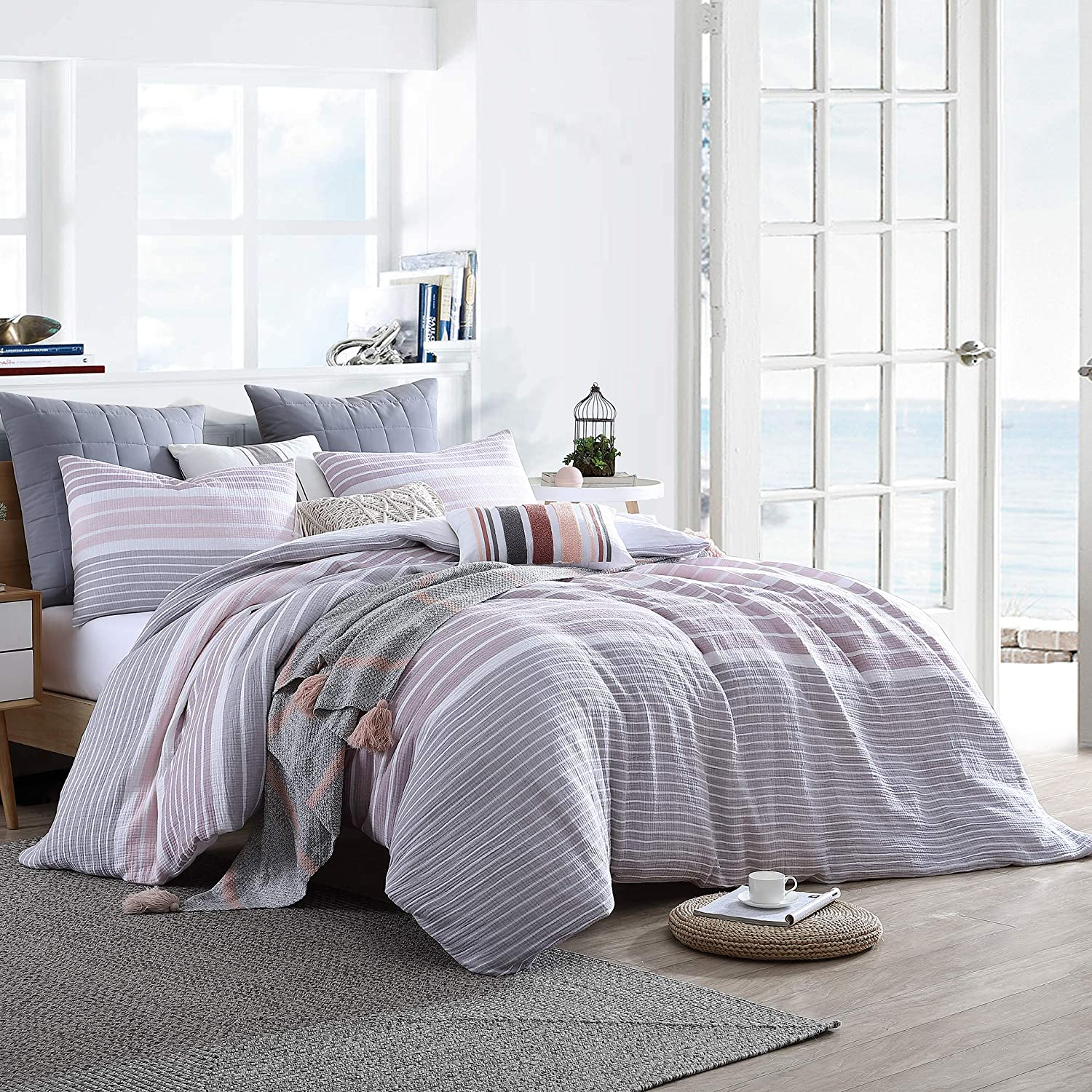 Swift Home Cordelia Prewashed Yarn-Dyed 100% Cotton Gauze Stripe Duvet Cover Set, Oeko-Tex Certified, Ultra Soft and Breathable, Button Closure, All Season - Mauve, Twin/Twin XL (68