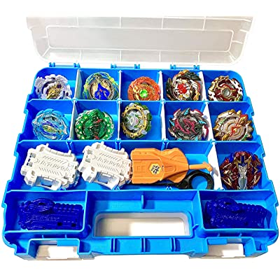 HOME4 Double Sided BPA Free Toy Display Storage Container Box - Compatible with Beyblade, Mini Toys, Small Dolls, Tools - Heavy Duty Organizer Carrying Case - 34 Adjustable Compartments: Baby