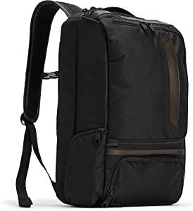 eBags Pro Slim Leather Trim Laptop Backpack (Black/Brown Trim)
