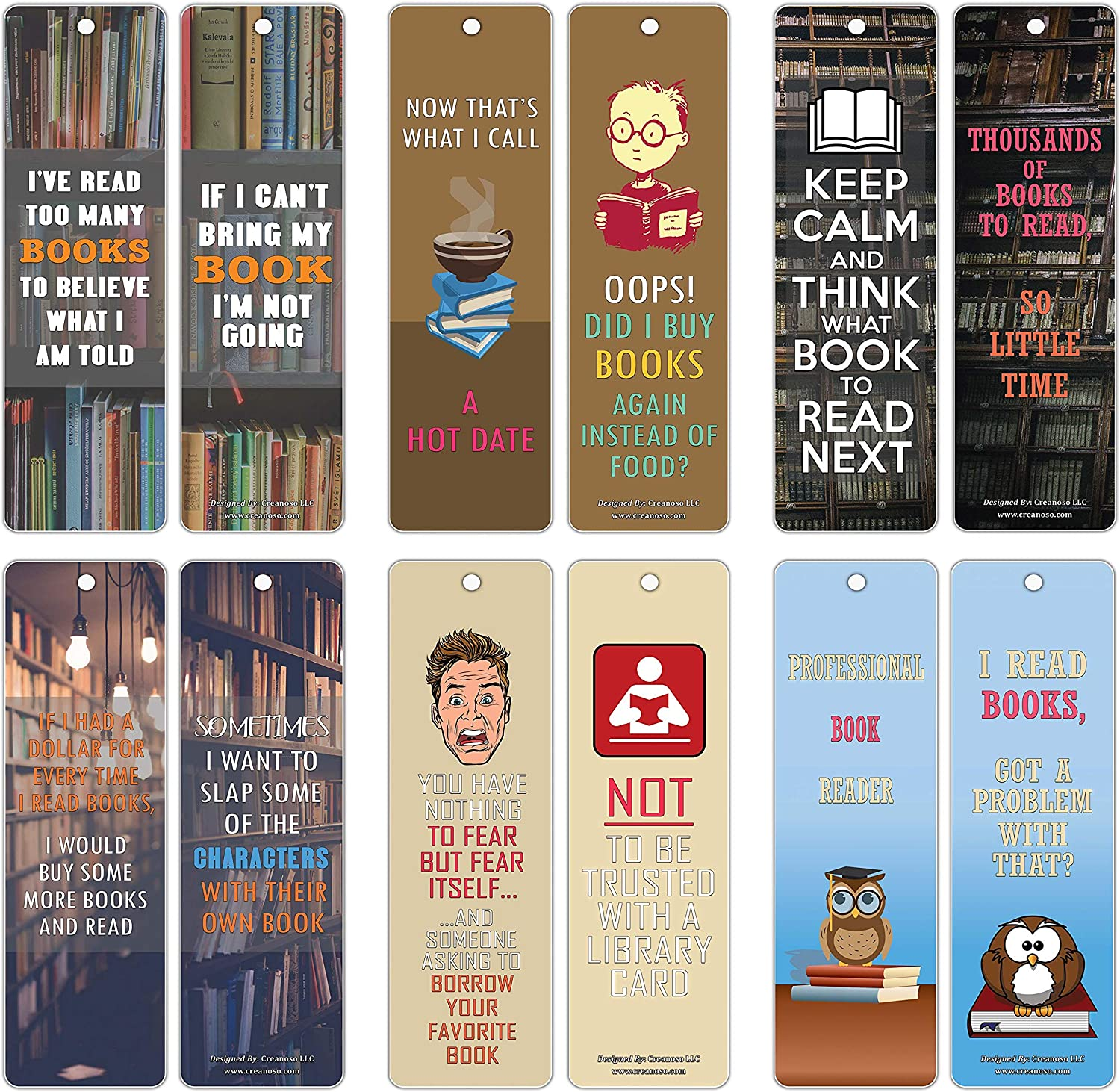 Creanoso Bookish Humor Sayings Quotes Bookmarkers (60-Pack) – Six Assorted Quality Bookmarks Bulk Set – Premium Gift for Men, Women, Adult, Book Readers – Awesome Bookmarks