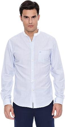 Pedro del Hierro Camisa Lino Lino F. Color Mao Azul L: Amazon.es: Ropa y accesorios