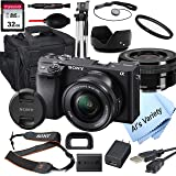 Sony Alpha a6400 Mirrorless Digital Camera with 16-50mm Lens+ 32GB Card, Tripod, Case, and More (18pc Bundle)