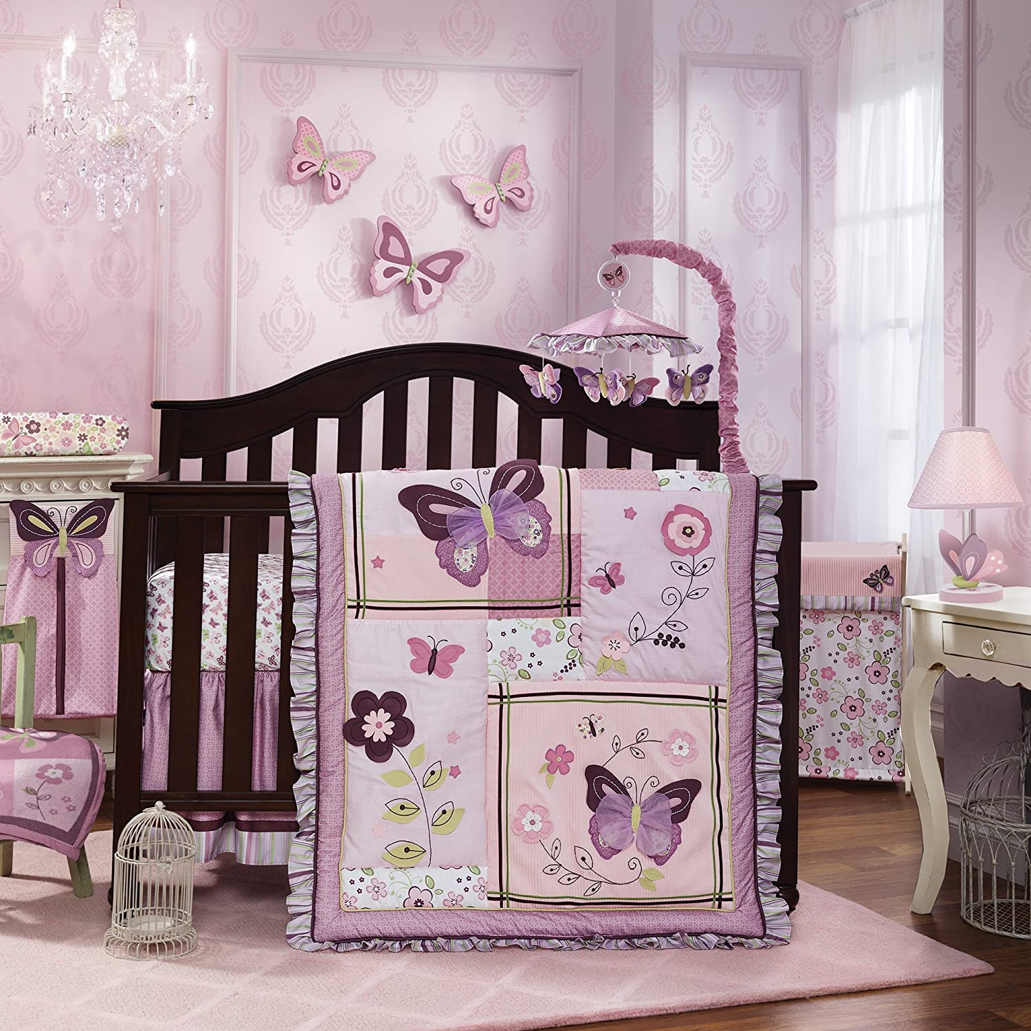 Lambs & Ivy Butterfly Bloom 6 Piece Bedding Set 084122575066