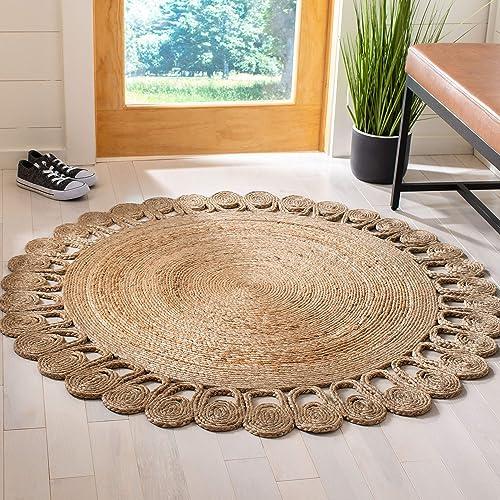 Safavieh Natural Fiber Round Collection NFB252A Handmade Boho Country Charm Jute Area Rug