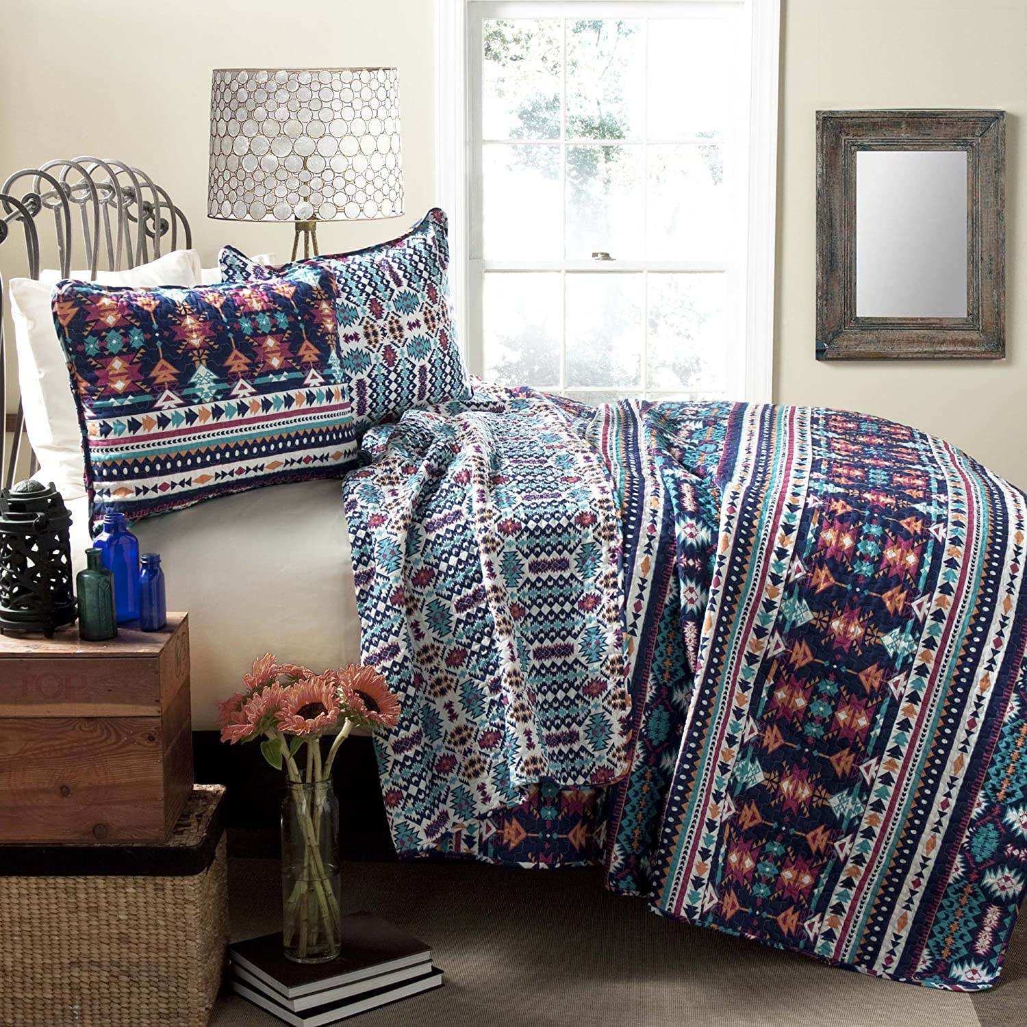 Lush Decor Navajo 3-Piece Quilt Set Full//Queen Navy//Turquoise Triangle Home Fashions C21989P14-000