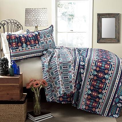 Amazon.com: Lush Decor Navajo 3-Piece Quilt Set, Full/Queen, Navy ... : navajo quilts - Adamdwight.com