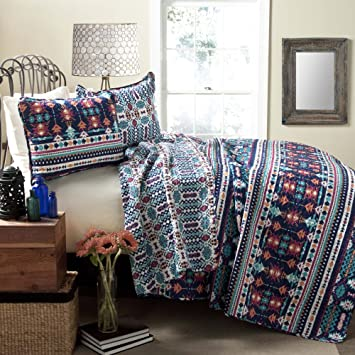 Lush Decor Navajo 3 Piece Quilt Set, King, Navy/Turquoise