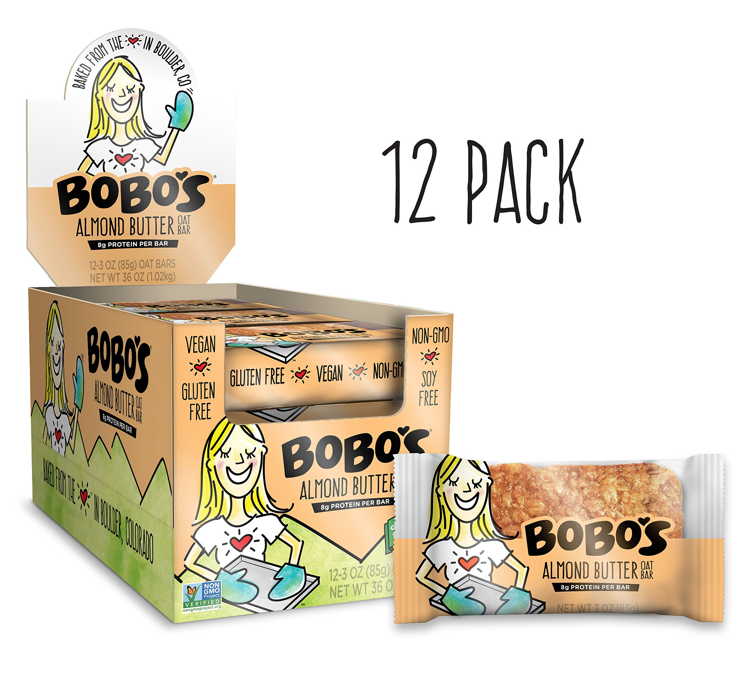 Bobo's Oat Bars, Almond Butter, 3 oz Bar (12 Pack), Gluten Free Whole Grain Snack and Breakfast Bar by Bobo's Oat Bars