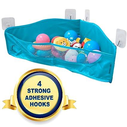 Bath Toy Storage - 4 Strong Adhesive Hooks - Bathtub Toys Net Holder Organiser - Corner  sc 1 st  Amazon.com & Amazon.com: Bath Toy Storage - 4 Strong Adhesive Hooks - Bathtub ...