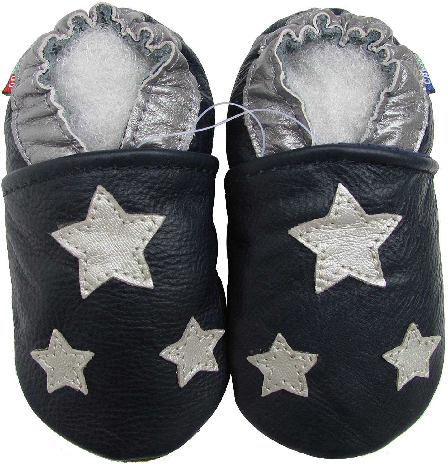 Carozoo Shoeszoo Silver Star Dark Blue Soft Sole Leather Baby//Toddler//Kid Shoes