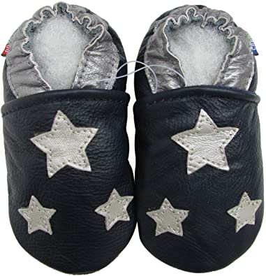 dd8af1998405 Amazon.com | Carozoo Shoeszoo Silver Star Dark Blue Soft Sole Leather Baby/ Toddler/Kid Shoes | Slippers