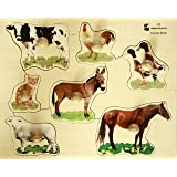 Doron Layeled Large Peg Wooden Puzzle - Farm Animals