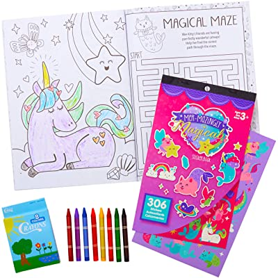 All-In-One Travel Kit for Kids. 32 Pg Magical Mermaids Coloring and Activity Book with 306 Stickers and 8 Crayons. Great Set for Car and Plane Rides or Road Trips for Children, Boys or Girls.: Toys & Games