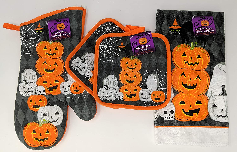 Halloween Kitchen Towel, Pot Holder, Oven Mitt Set Black Cat, Jack o Lanterns, Spider Webs & Skull