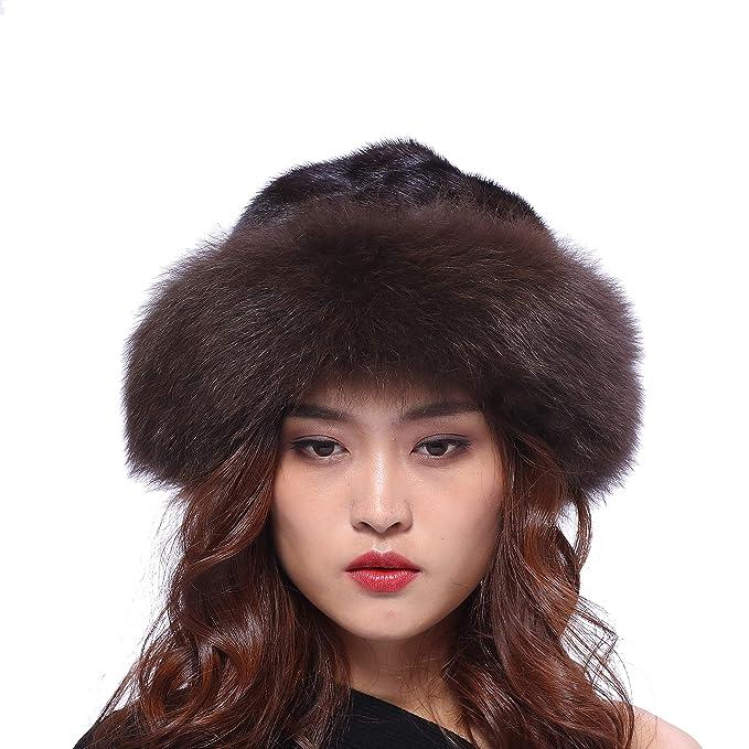 BeFur cappello cappellini berretto cappello pescatore cappello bombetta da  donna invernale pelliccia di visone e bordo in pelliccia di volpe  morbido 04566d632163