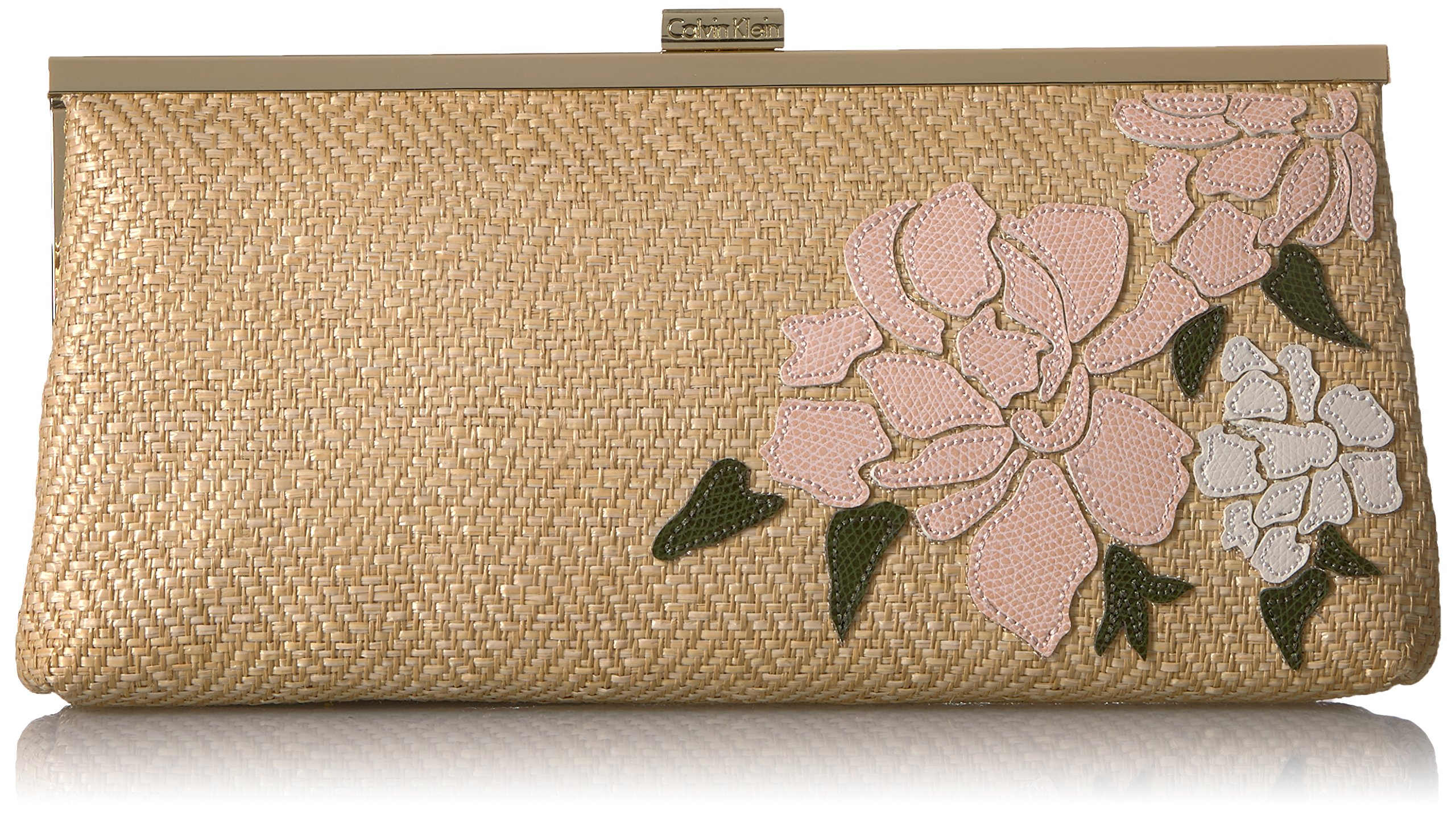 Calvin Klein Straw Embroidered Floral Clutch, Natural
