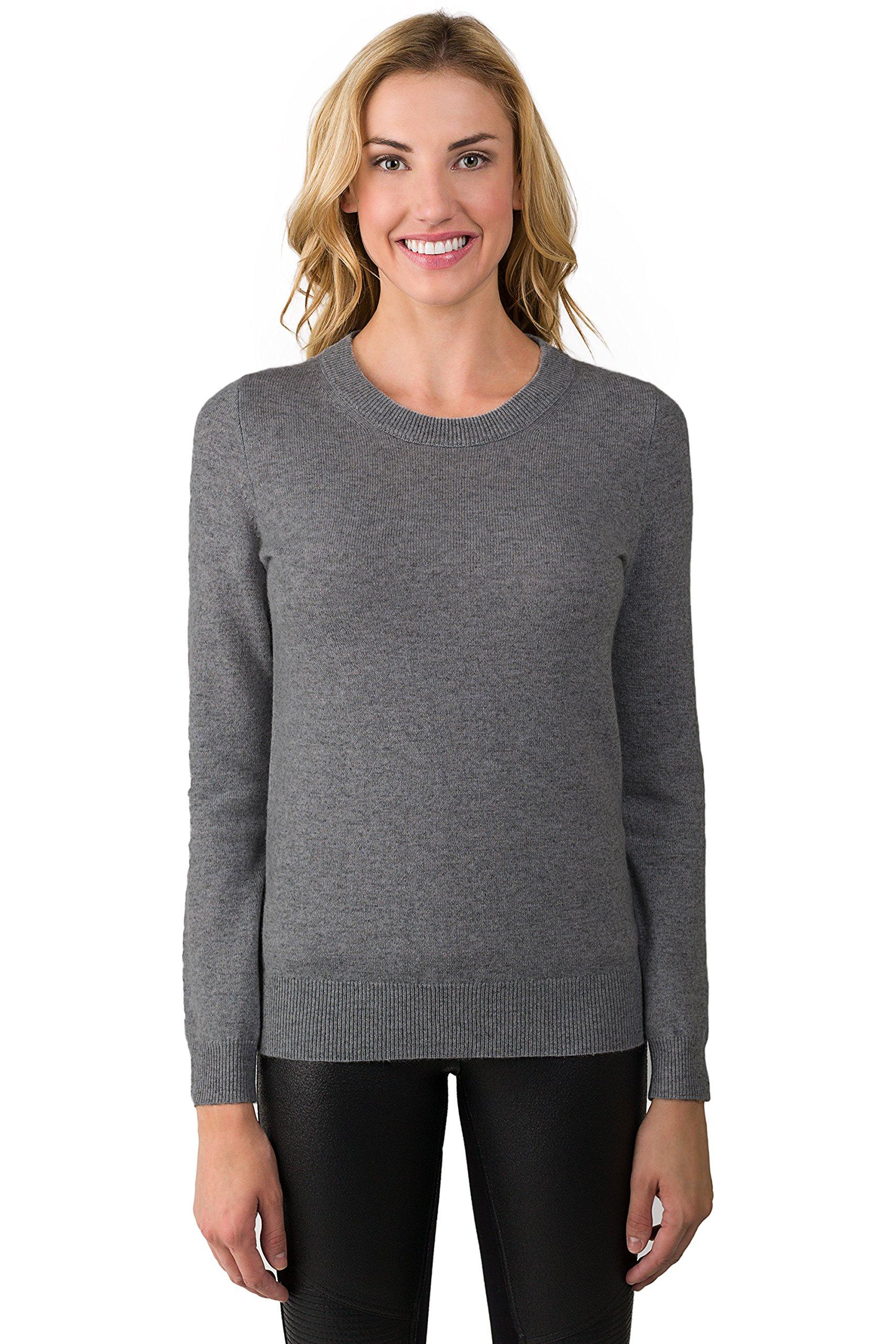 JENNIE LIU Women's 100% Pure Cashmere Long Sleeve Crew Neck Sweater (M, Charcoal)