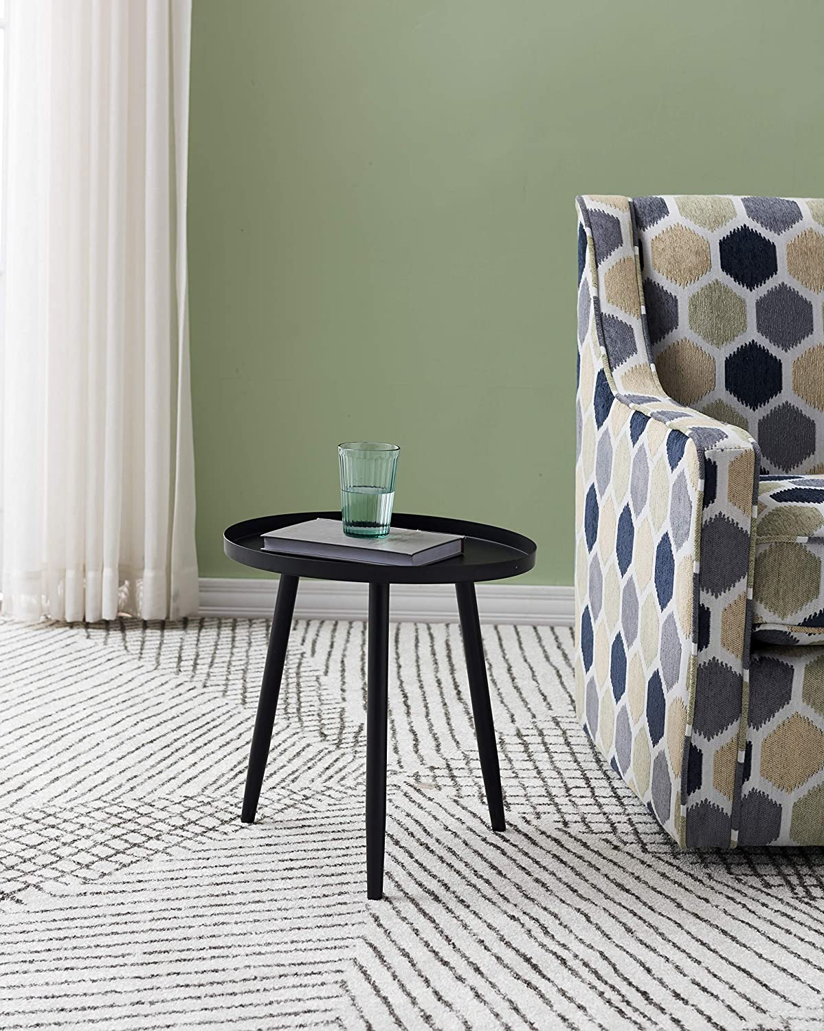 Kings Brand Furniture – Whelan Round Metal Side End Accent Table, Black