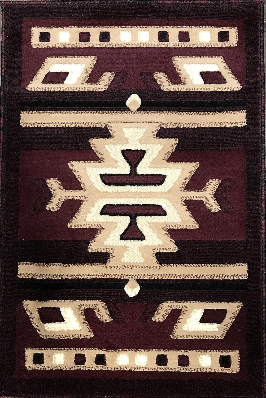 Southwest Native American Door Mat Area Rug Beige Brown Carpet King Design 113 (2 Feet X 3 Feet) #113