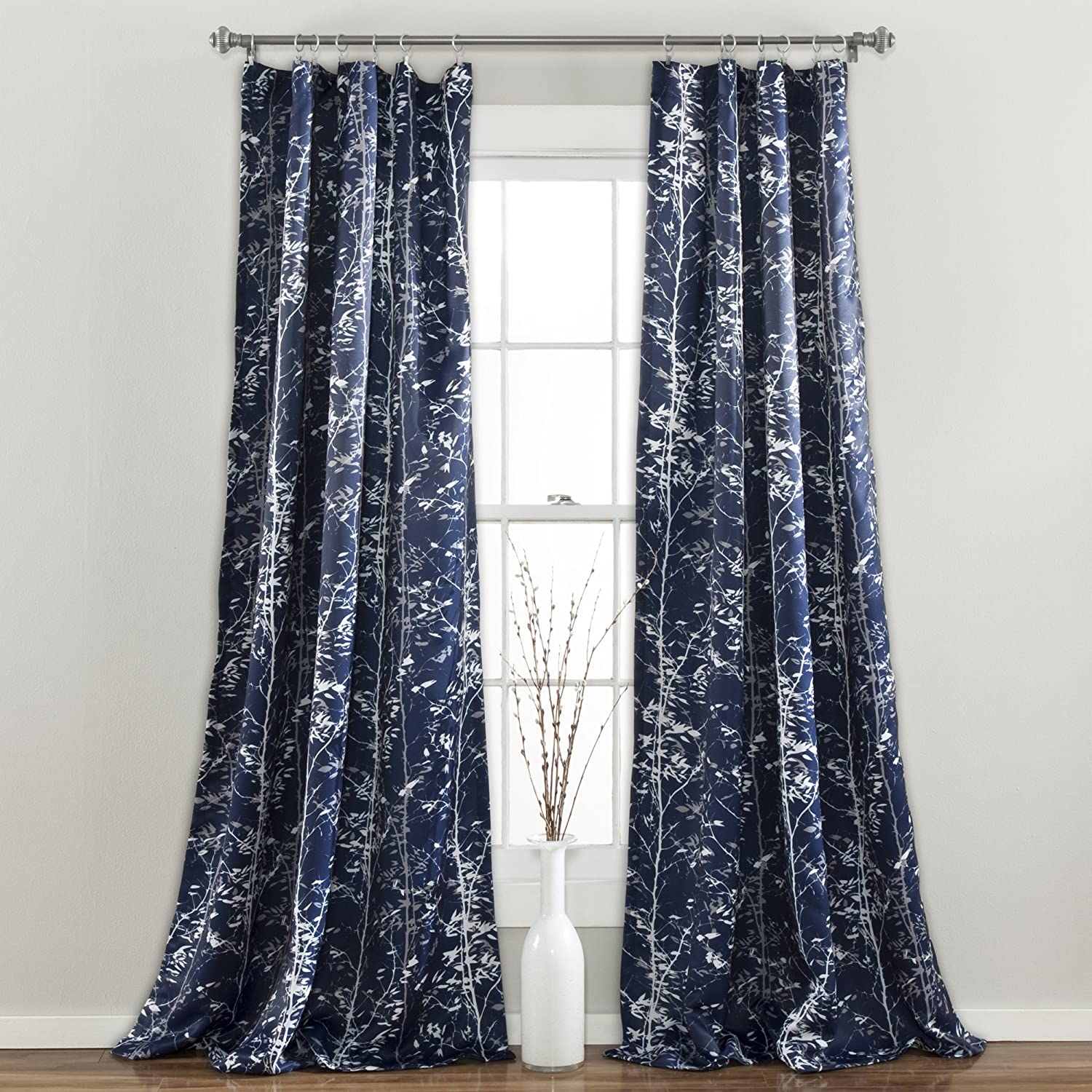 "Lush Decor, Navy Forest Curtains Tree Branch Leaf Darkening Window Panel Drapes Set for Living, Dining, Bedroom (Pair), 108"" x 52"""