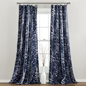 "Lush Decor Forest Curtains - Tree Branch Leaf Darkening Window Panel Set for Living, Dining, Bedroom (Pair) 84"" x 52"" Navy"