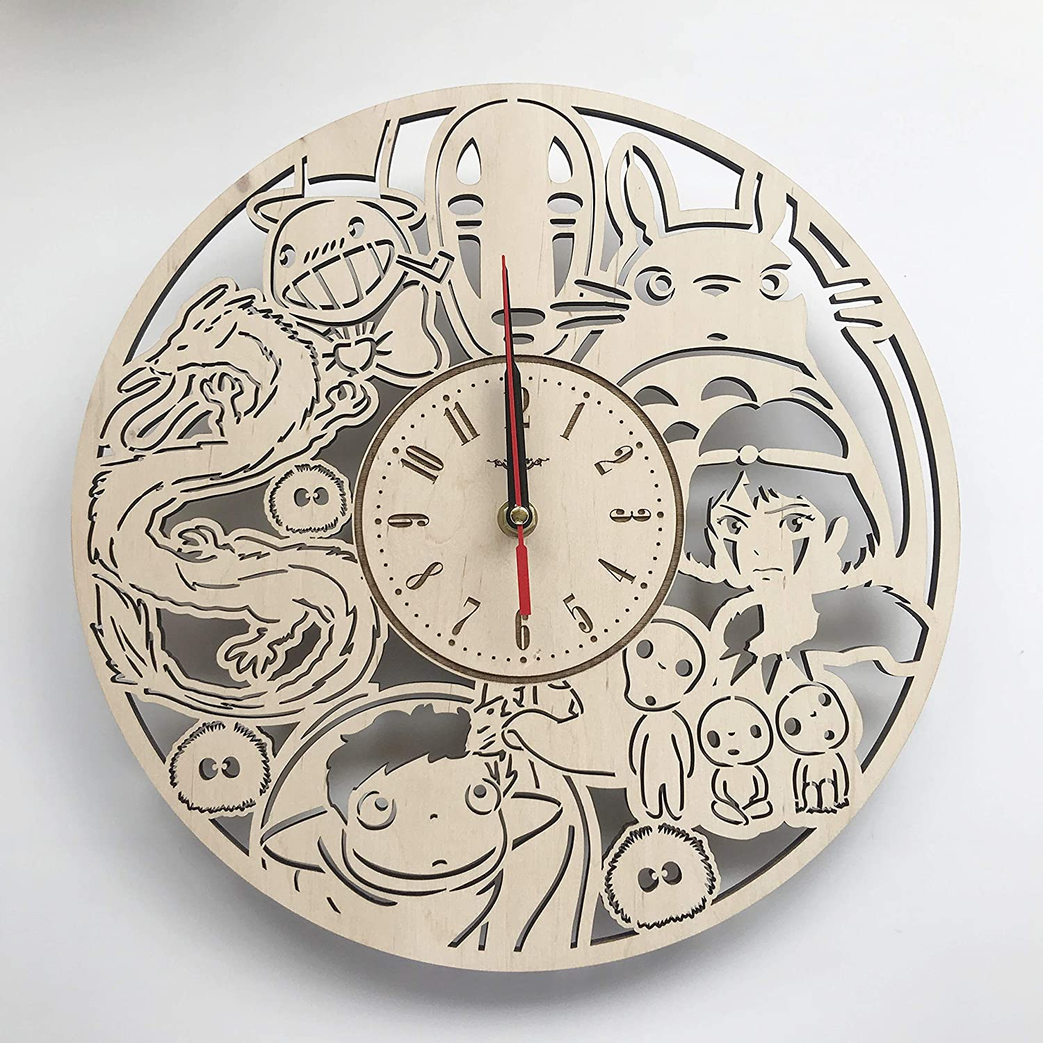 7ArtsStudio Studio Ghibli Wall Clock Made of Wood - Perfect and Beautifully Cut - Decorate Your Home with Modern Art - Unique Gift for Him and Her - Size 12 Inches