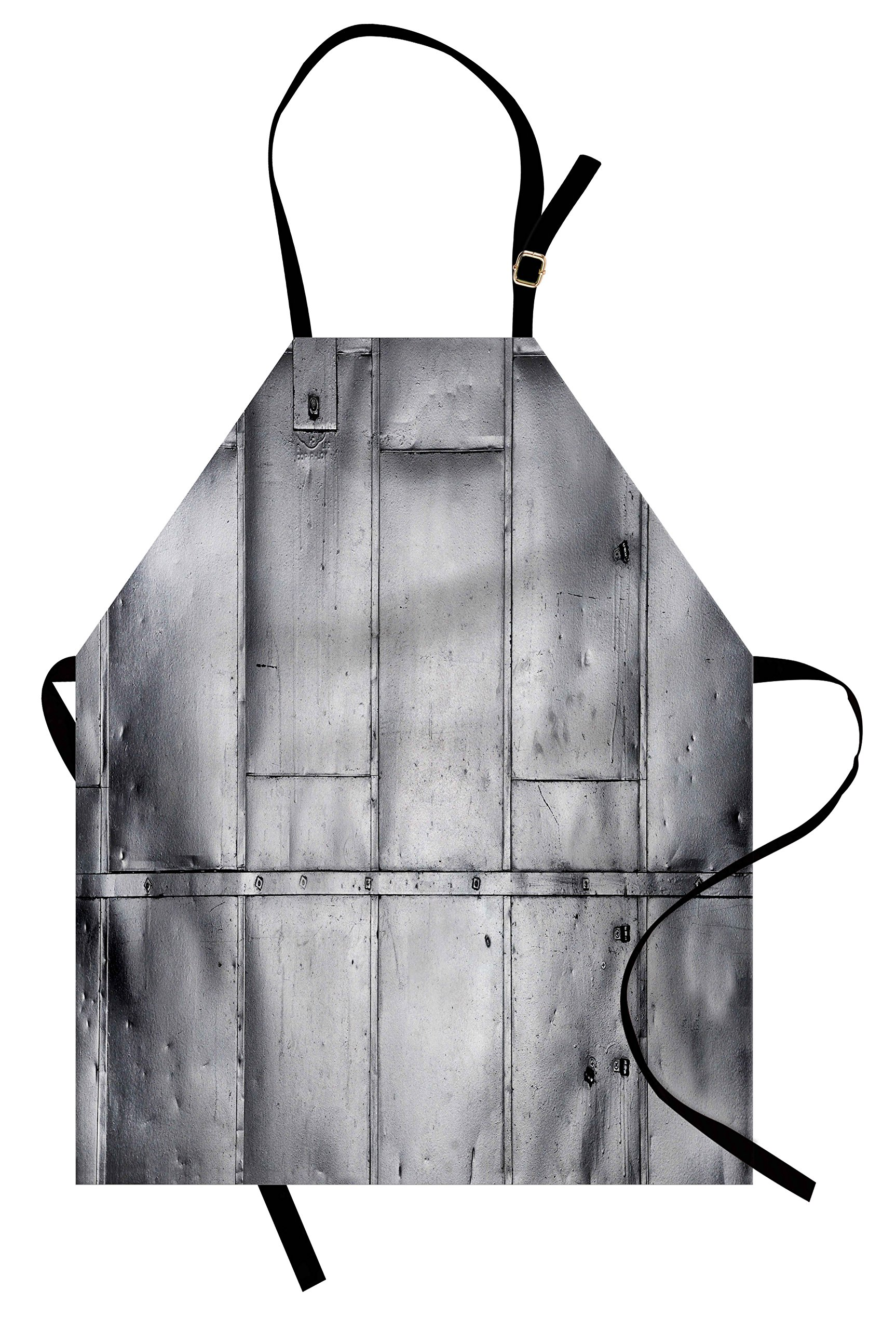 Ambesonne Industrial Apron, Steel Panels Industrial Wall Theme Aluminum Background Futuristic Engineering Print, Unisex Kitchen Bib Apron with Adjustable Neck for Cooking Baking Gardening, Silver