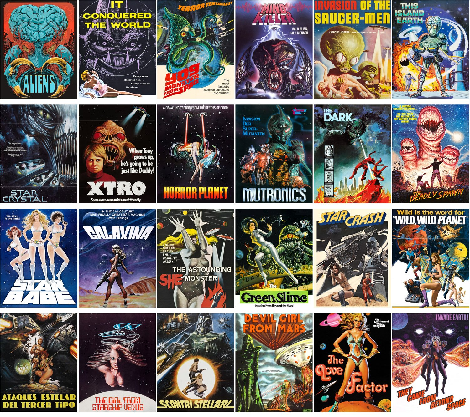 Amazon.com : Postcard Set 24pcs Aliens and Sexy Girls Scifi Vintage Trash Horros Movie Posters : Office Products