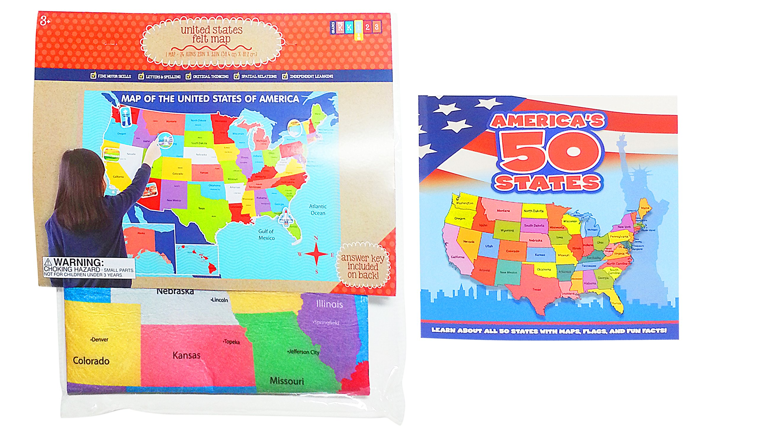 Combined United States Felt Educational Map and America's 50 States Book – Set of 2 Items