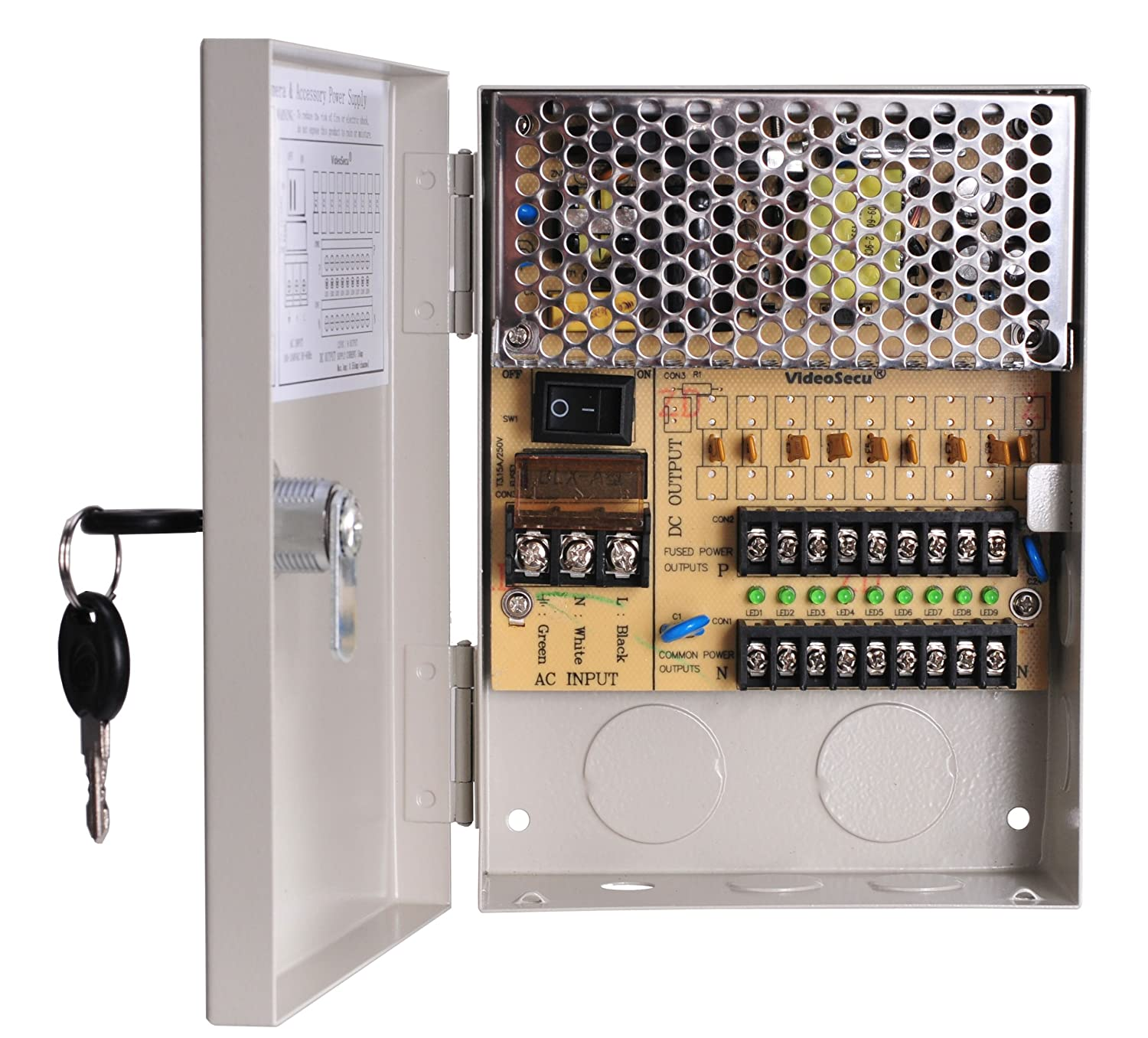 VideoSecu Key Lock 9 Output 12 V DC CCTV Distributed Power Supply Box Auto Reset for Security Camera WK9